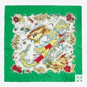 J. Crew Bermuda green printed large square scarf